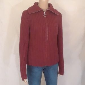GAP Red Ribbed Zippered Turtleneck Sweater - Sz M
